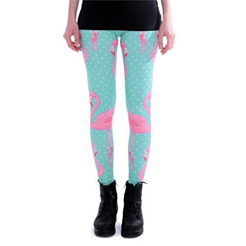 cosey - Bedruckte Bunte Leggins (Einheitsgröße) Verschiedene Leggings Designs, Flamingo Punkte, Einheitsgröße