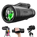 Monocular Telescope 12x50 High Definition with Quick Smartphone Adapter&Tripod&Hand Strap Waterproof Night Vision Monoculars for Bird Watching Hunting