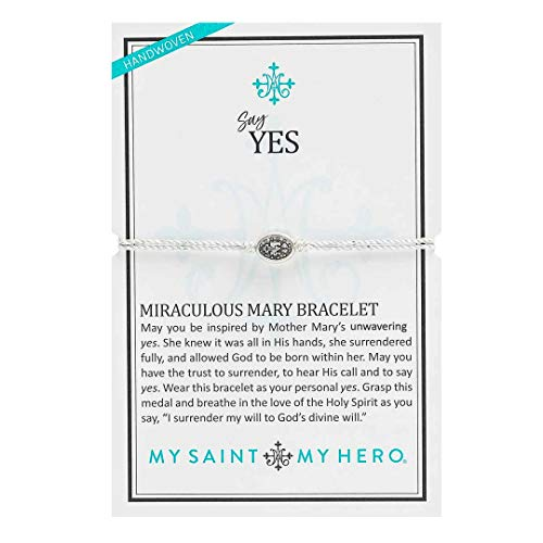 My Saint My Hero Say Yes Miraculous Mary Bracelet - Silver-Tone Medal on Silver-Metallic Cord