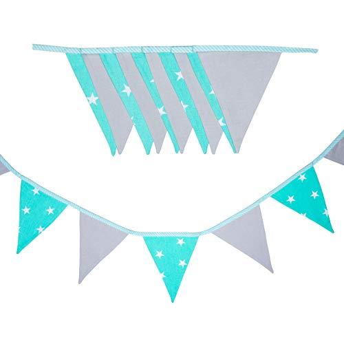 cozydots - Guirnalda de banderines de Doble Cara, Guirnalda de Tela, guirnaldas Coloridas para Decorar la habitación de los niños, decoración de Fiestas (mint stars, 235)