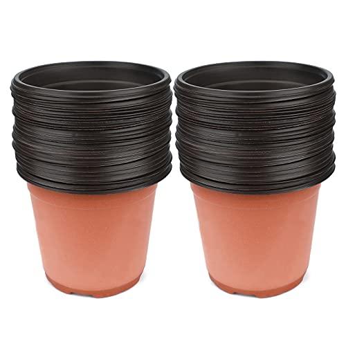 KINGLAKE 50 Pcs 6 Plastic Plants Nursery Seedlings Pot/Pots Flower Plant Container Seed Starting Pots