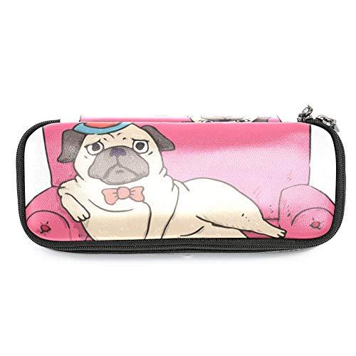 Estuche de piel con tapa para sofá de caricatura, para niños y niñas, con cremallera y estuche duradero de 19 x 7,6 x 3,8 cm