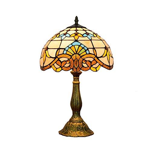 AWCVB Lámpara De Mesa De 12 Pulgadas Estilo Tiffany Vintage Lámpara De Mesa De Vidrio Colorido Diseño De Mesa De Comedor Lámpara De Mesa De Metal Dormitorio De Pie Lámpara De Noche