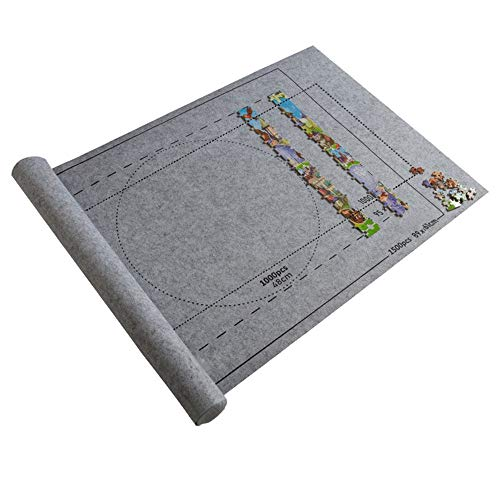 Carolui Puzzle Roll Storage Mat,Puzzleunterlage Puzzlematte Puzzlerolle,Puzzleunterlage 1500 Teile,Tragbare Puzzles Mat,Filz Puzzle Rolle Matte,Matten Puzzles Decke,Jigsaw Puzzle Mat(Grau-Mat)