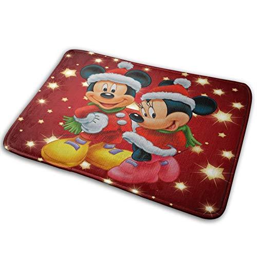 Caelpley Alfombra De Baño Antideslizante (15,7 X 23,168 Pulgadas) Alfombras Extra Suaves Y Absorbentes, Alfombra De Dormitorio Y Cocina para Ducha, Disney Mickey Mouse Y Minnie Navidad