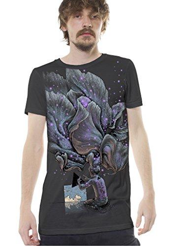 Herren Psychodelisches T-Shirt Luzider Traum Grafikdruck PSY Trance X-Large Grau Top
