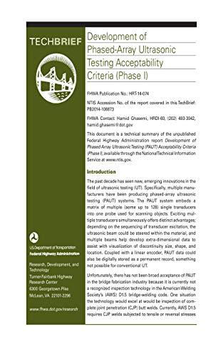 Development of Phased-Array Ultrasonic Testing Acceptability Criteria (Phase I)