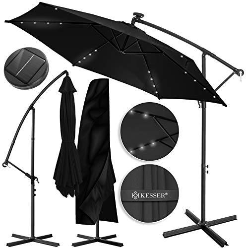 KESSER® Alu Ampelschirm LED Solar Ø300cm + Abdeckung mit Kurbelvorrichtung UV-Schutz Aluminium mit An-/Ausschalter Wasserabweisend -...