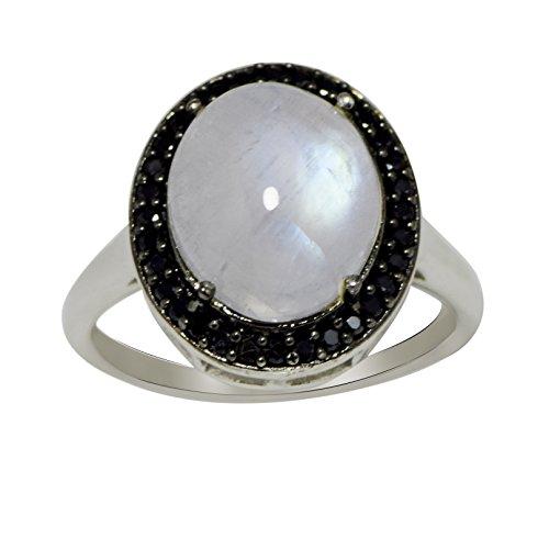 Shine Jewel Piedra de Luna y espinela Negra en Anillo de Plata de Ley 925 para Mujer R Oval Piedra de la Luna Blanco