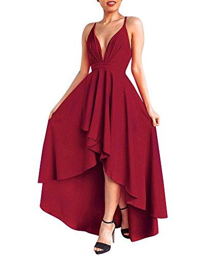 Mujer Vestido Largo Sin Mangas Backless Vestidos de Noche Fiesta Partido Coctel Dresses Vino Rojo S