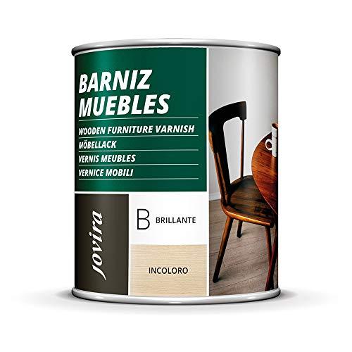 BARNIZ MUEBLES SINTETICO, Excepcional dureza y resistencia al rayado para todo tipo de maderas (750 ml, BRILLANTE)