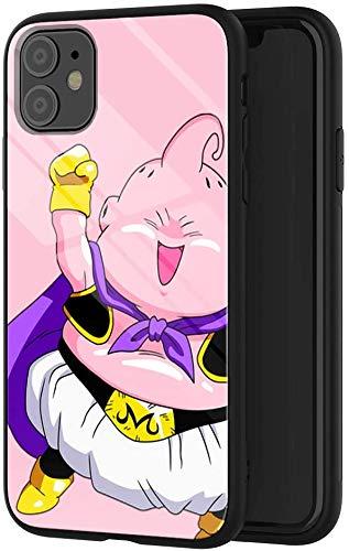 Funda de teléfono compatible con iPhone 11, diseño de Anime Dragon Ball Z Fat Buu, cubierta trasera de cristal templado a prueba de golpes con suave TPU antiarañazos, funda de 6,1 pulgadas (E)