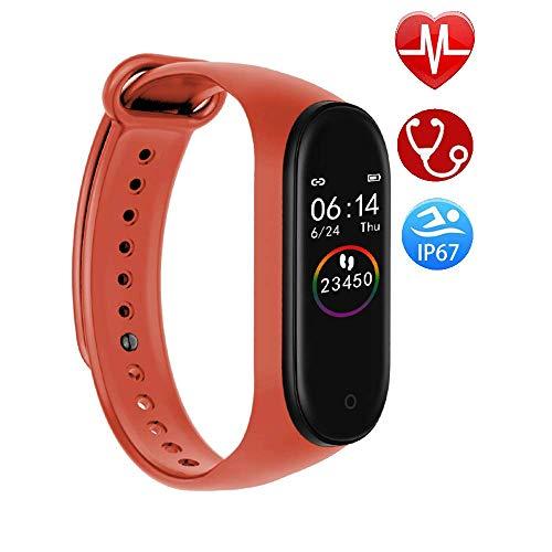 Multifunktions-Fitness-Tracker mit Herzfrequenz-Blutdruck-Kalorien-Messgerät Schrittzähler für Kinder Frauen Männer Großes Fitness-Geschenk,Orange