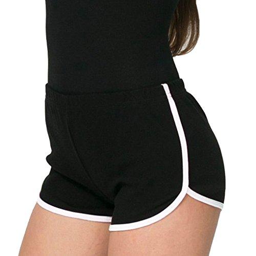 Minetom Femme Short De Sport Pantalon Court Casual Yoga Mode Plage 4 Couleurs Hot Pants Été Jogging Élastique Doux Respirant Noir EU XL