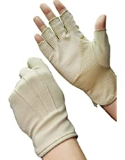 Zomerhandschoenen met halve vingers van katoen, korte kanten handschoenen, antislip, anti-uv-bescherming, dunne zonwering, wanten voor fietsen, motorrijden