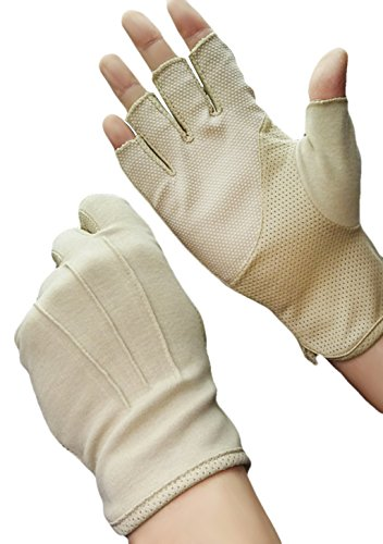 JIAHG Herren Halbfinger Handschuhe Baumwolle Fahrradhandschuhe Anti-Rutsch, Anti-UV Schutz, Atmungsaktiv Sporthandschuhe, Einheitsgröße, Beige