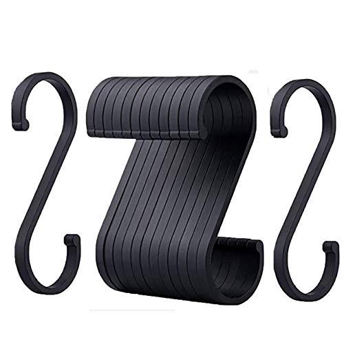 12 Stück Schwarz S-Haken, Space Aluminium S-förmiger Haken, S Hanger Haken für hängende Töpfe und Pfannen
