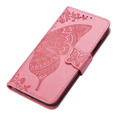HAOYE Cover per Xiaomi Redmi Note 9S/Note 9 PRO Cover, Custodia Chiusura Magnetica Flip Case Stile, Pelle PU Farfalla Sbalzato con Supporto di Stand/Carte Slot. Rosa