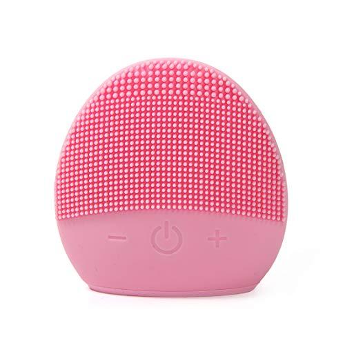 Mini cepillo de limpieza facial de silicona - Sistema de masajeador eléctrico y limpiador facial de silicona impermeable FEITA para todo tipo de piel (rosa)