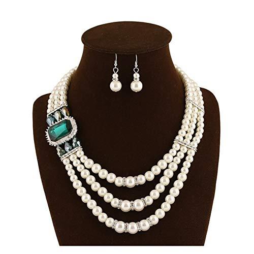 DSJTCH Cerradura de Diamante Europea y Estadounidense Collar de Perla de Hueso Anillo de Oreja Joyería Joyería Juego de Joyas de Moda Temperamento Salvaje Collar de Perla Blanco Femenino (Color : E)