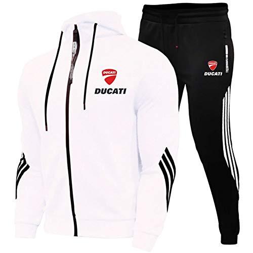 Woakzhe Uomo Tute Sportiva Set, Abbigliamento Sportivo da Uomini, Du.c-a.Ti Stampato Jogging Tuta Sportiva, Giacca Sportiva Pantaloni Basket Classica (XL,White)