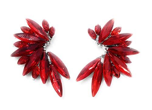 Pendientes cristales coloridos mujer alta bisutería fiesta, chapado plata rojo