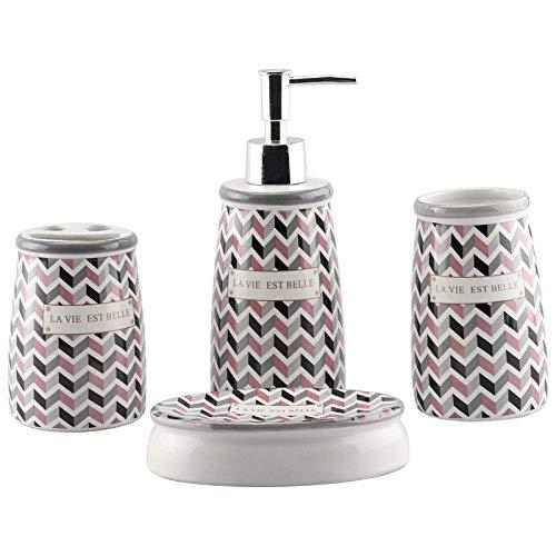 Accesorios de baño de cerámica de época surtidos, Baño sistemas de la vanidad Decoración Impreso ondas de colores de 4 piezas Contener dispensador de jabón, PC 1 Vaso, cepillo de dientes titular, Jabo