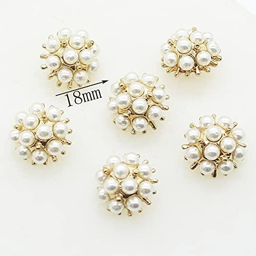 DINGM 5 Piezas botón de Perla con Incrustaciones de Metal Cosido a Mano botón de Abrigo Mauni botón de Costura de joyería decoración de Vacaciones