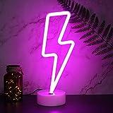 YIVIYAR Neonlicht LED Lightning Sign Leuchtschild LED Neon Schild LED Deko mit Sockel, USB/Batterie Nachtlichter Neon Licht Zimmer Deko für Wohnzimmer Schlafzimmer Gaming Dekoration (Pink Lightning)