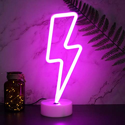 YIVIYAR Pink Lightning Neon Lights, USB Cable/Battery LED Sign, Aesthetic Room Decor LED Wall Lights for Room Decor Room Light Cool Gadgets Cool Lights for Bedroom Gaming Lights(Pink Lightning)