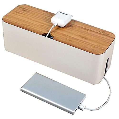 Guuisad Caja de almacenamiento de cables de plástico con tapa de madera...