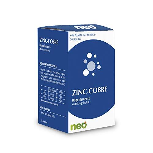 NEO   Zinc + Cobre - 50 Cápsulas   Complemento Alimenticio Vegano   Vitaminas para Mejorar el Síndrome Pre-Menstrual y Fortalecer los Huesos   Sin Alérgenos ni GMO   Tomar 1 o 2 Cápsulas al Día