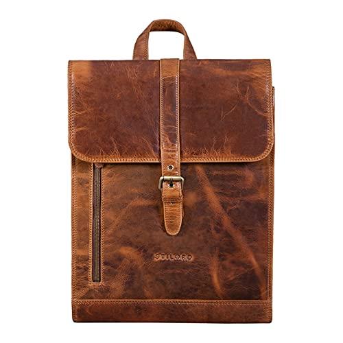 STILORD 'Grover' Mochila Oficina Portátil Vintage Bolsa Mochila in Cuero Elegant Backpack Mochila Bandolera XL para Ordenador de 16 Pulgadas de Piel Vera, Color:Kara - Cognac
