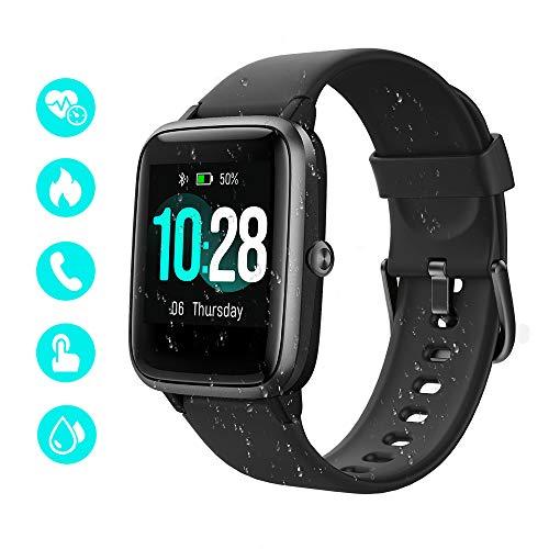 Smart Watch, wasserdichter Smartwatch bunter Fitness Tracker mit vollem Touchscreen, Herzfrequenz, Schlafverfolgung, Schrittzähler, Anruf SMS Erinnerungsaktivitäts Tracker für Android iOS (Schwarz)