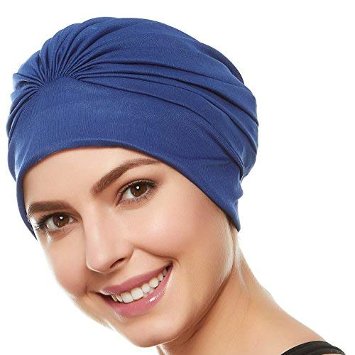 Beemo Women's Swim Bathing Cap Turban Polyester Latex Lined - Navy