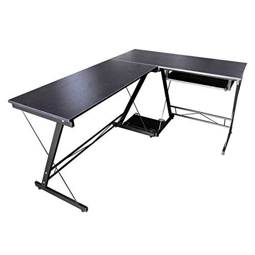 hlc L-Form 161 * 120 * 73CM Eckschreibtisch Schreibtisch Computertisch Bürotisch mit Tastaturauszug aus Holz Schwarz
