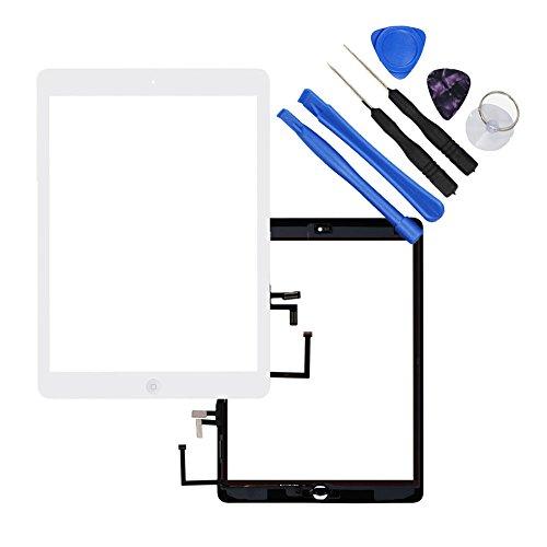 Dazone iPad 5 Display Touchscreen iPad air Digitizer Panel Glas Ersatzteile Vorderer mit Werkzeug und Homebutton für iPad air Modell A1474, A1475 A1476 WIFI - Weiß