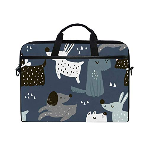 Laptop Sleeve Case,Laptop Bag,Dog Puppy Pattern Water Briefcase Messenger Notebook Computer Bag with Shoulder Strap Handle,28.5×38 CM/14 Inch