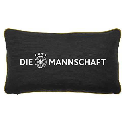 GAMEWAREZ DFB Fan-Kissen DIE MANNSCHAFT für Wohn- und Schlafzimmer, Reisekissen, Made in Germany. Schwarz mit goldenem Keder