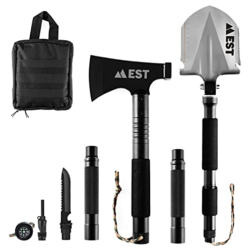 EST Gear Camping Axe and Survival Shovel Military Heavyduty Folding Compact Entrenching 20-in-1...
