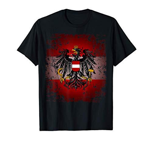 Österreich T-Shirt Rot Weiß Rot mit Adler Retro Vintage Look T-Shirt