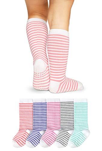 LA Active Calcetines Altos Rodilla Antideslizantes - 5 Pares - para Bebé Niños Niñas Infantil - Algodón (Niñas Rayas, 12-36 Meses)