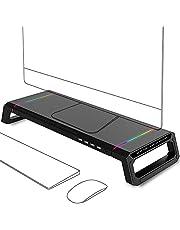 PLAIN モニター台 机上台 モニタースタンド 【4USBポート HUB】 RGB照明 整理する 高速データ伝送 多機能 キーボードストレージ USBケーブル付き デスクトップスタンド 27インチiMAC対応 オフィス/自宅
