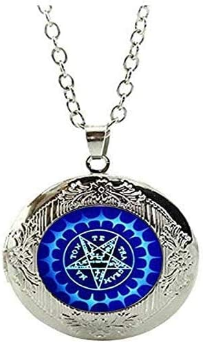 Pentagram Locket Necklace Art Photo Charm Art Picture Jewelry