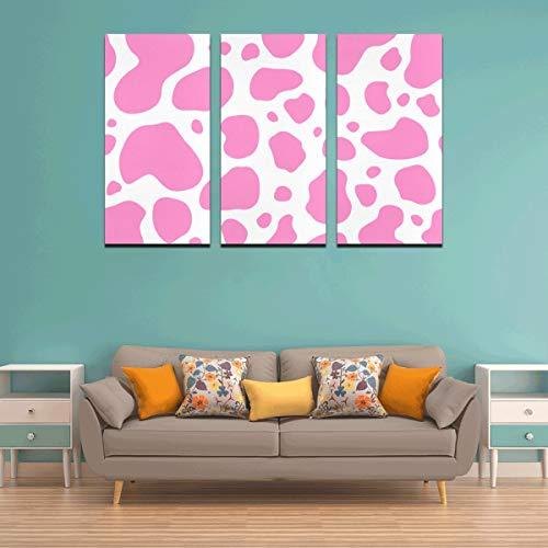 3 Panel Wandfarbe für Küche Kuh rosa und weiß Tierfleck Haut Wandmalereien für Mädchen drucken Wandmalerei Männer Leinwand Wandkunst für zu Hause Wohnzimmer Schlafzimmer Badezimmer Wanddekor Poster