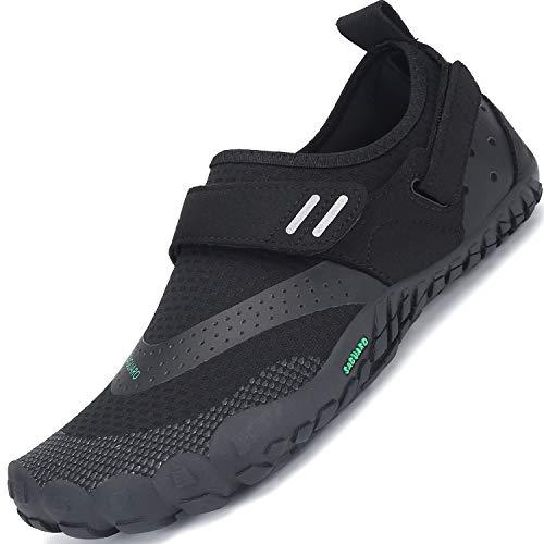 SAGUARO Barfußschuhe Herren Outdoor Traillaufschuhe Männer Barfuß Zehenschuhe Training Fitnessschuhe Schwarz A 46