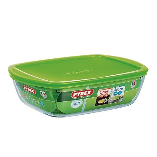 Pyrex  4936461 Cook&store Plat À Four En Verre Rectangulaire Avec Couvercle 28x20 Cm