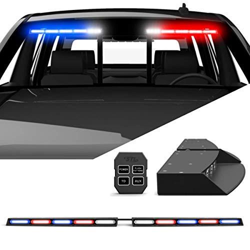 SpeedTech Lights Raptor TIR Upper Windshield Interior Split LED Strobe Visor Light Bar Emergency Lights for Vehicles and Police with Bracket and Control Box - Red/Blue Alternating