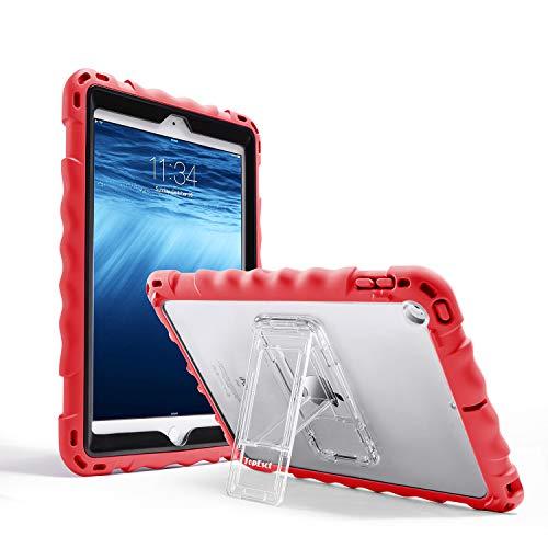TOPESCT iPad 9.7 Case voor iPad 6e/5e Heavy Duty Case, Premium Food-grade Silicone Lichtgewicht Schokbestendig Stand Kids Vriendelijk, met een riem, Rood