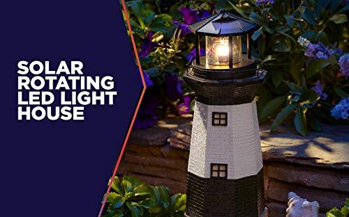 LED Solar Lighthouse Statue Rotating Light Garden Yard Walkway Garden Decor Lamp